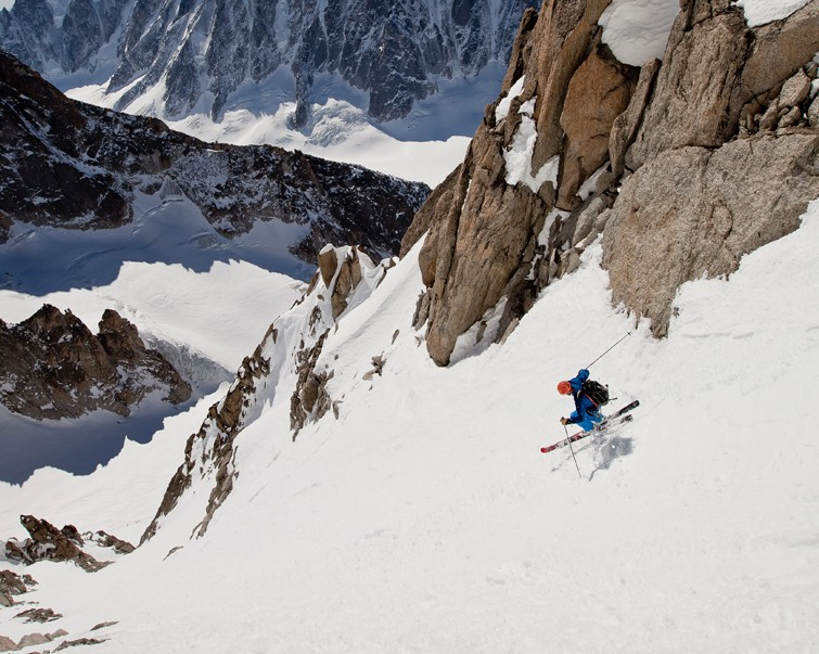 Ross in action on the south face of the Aiguille du Chardonnet | Photo Cedric Bernardini