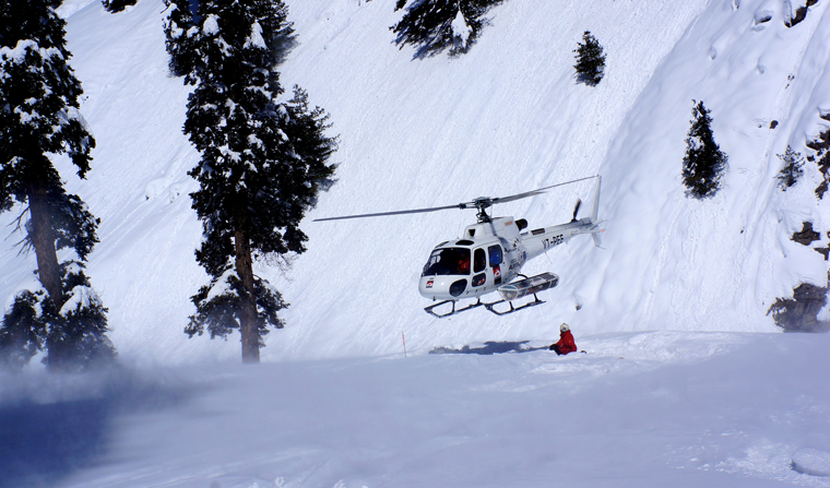 Heli appraoches the LZ at the bottom of Hell Bent Woods | Matt Clark