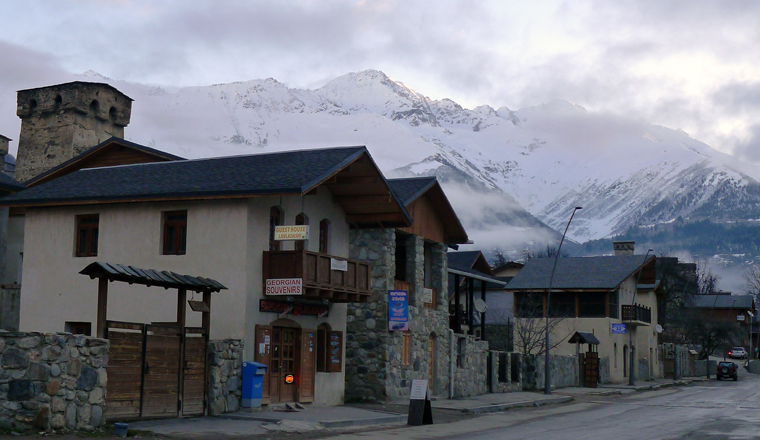 georgia-svaneti-mesti-main-street-sunrise-mountains