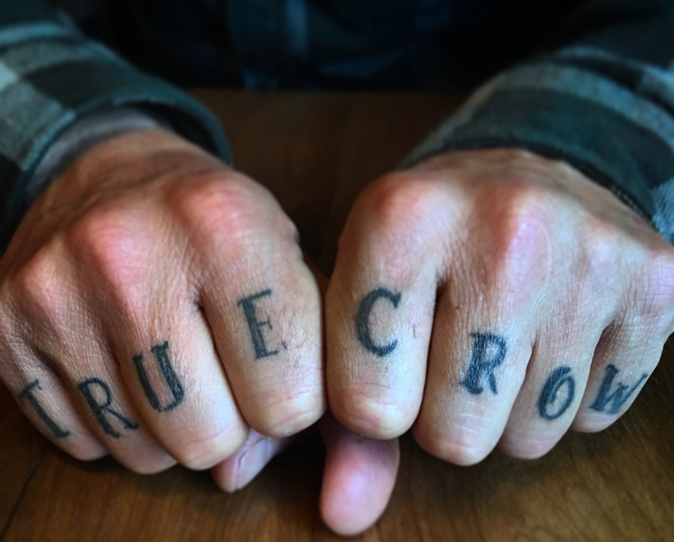 Black Crows founder Bruno shows off his tats