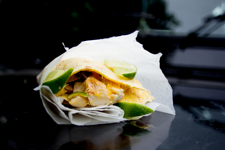 Chicken, mango and mint quesadillas, cooked on the move | photo claire burge