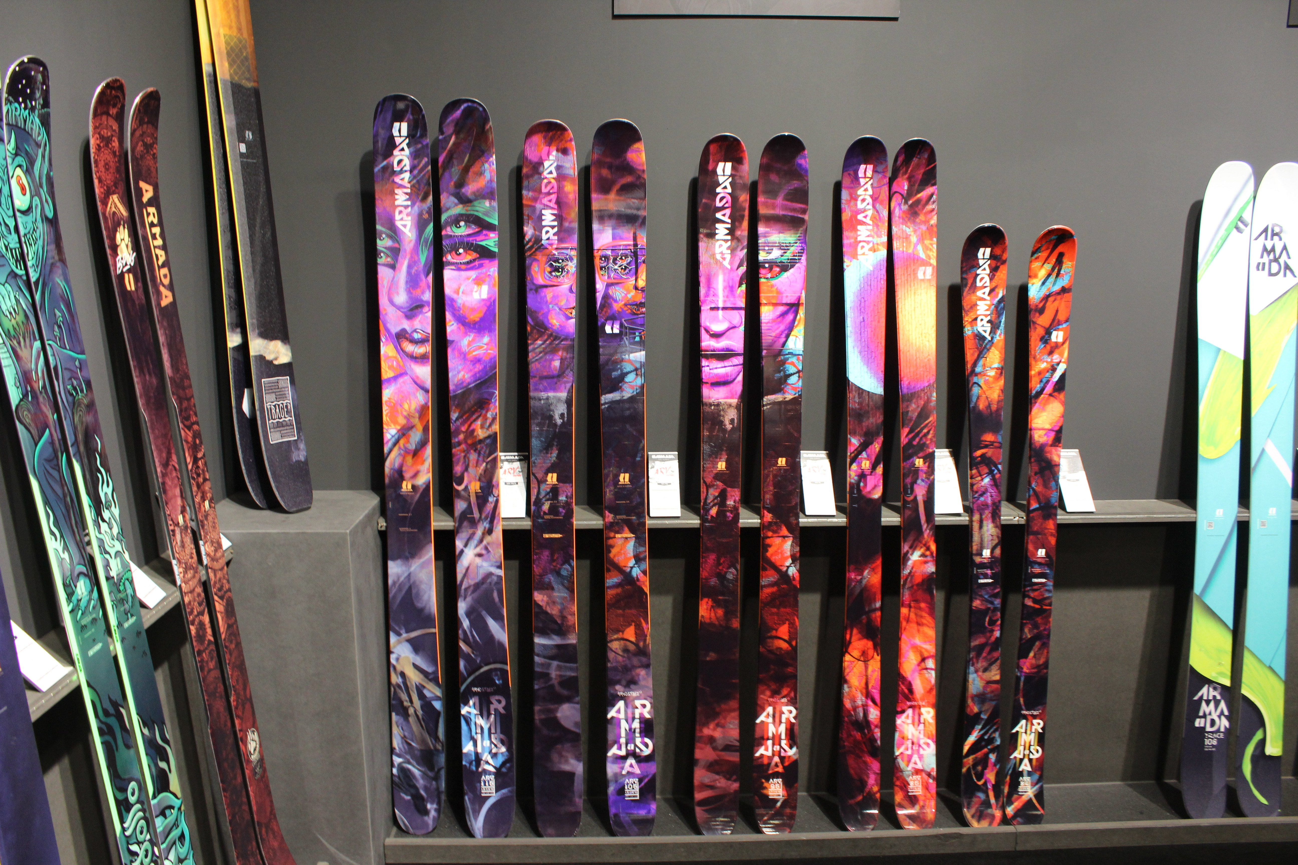 Armada's new 2017/18 line on display at ISPO. They've always been known for innovative shaping and flamboyant graphics