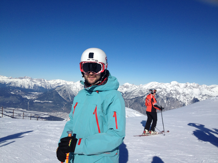 Jamie enjoying skiing just minutes from his flat near Innsbruck