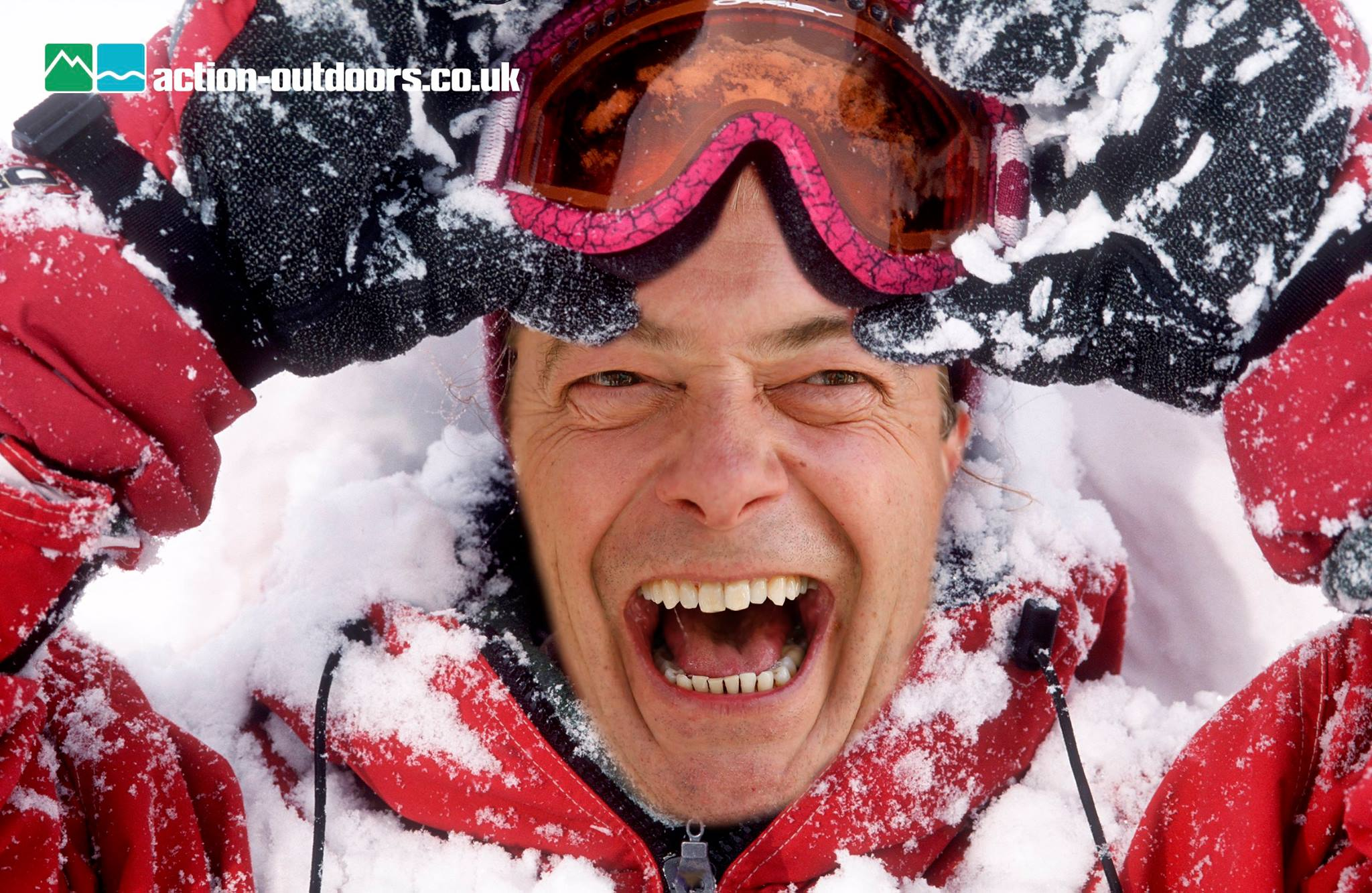Despite a number of falls and snow right down his back, Farage appeared to enjoy his time away in the Alps